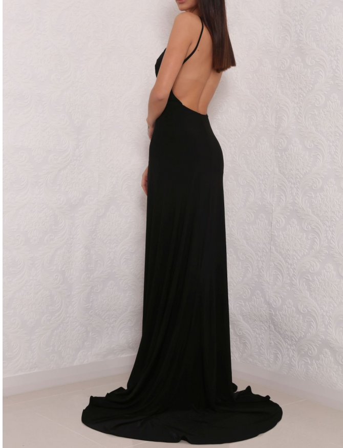 9e9b0d36f5c Sexy Black High Slit Prom Dress With Open Back